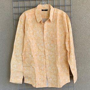 Men's Linen Paisley Hawaiian Print Casual Shirt